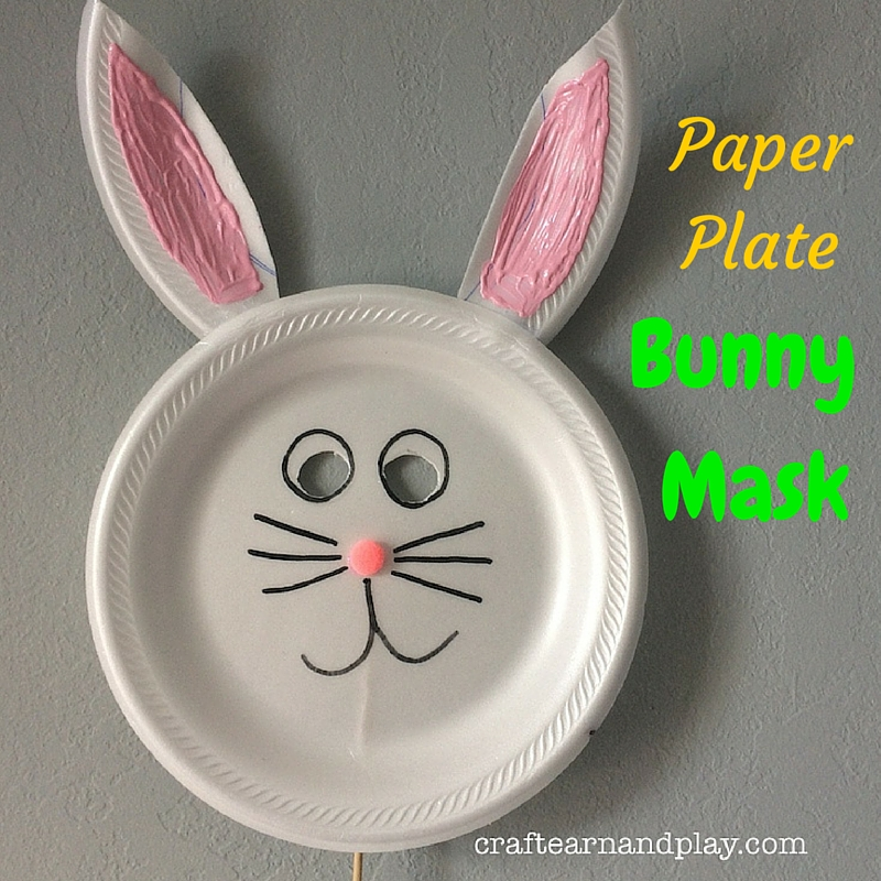 Easy Craft Project For kids, Paper Plate Bunny Mask